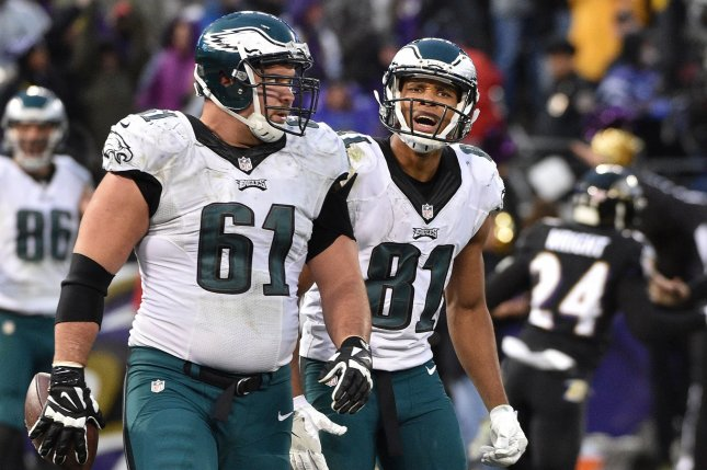 Philadelphia Eagles intended receiver Jordan Matthews (81) reacts with Stefen Wisniewski (61) after an attempted two-point conversion pass falls short against the Baltimore Ravens during the second half of an NFL game at M&T Bank Stadium in Baltimore, Maryland, December 18, 2016. Baltimore won 27-26. Photo by David Tulis/UPI