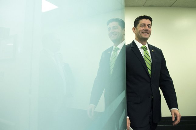 House Speaker Paul Ryan, R-Wis., praised a spending bill passed Wednesday by the lower chamber as a turn of the page from legislation seen during the administration of former President Barack Obama. Democrats also declared victory with the bill, which funds the government through September. Photo by Kevin Dietsch/UPI