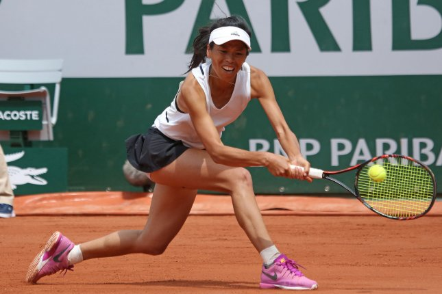 Su-Wei Hsieh of Chinese Taipei (Taiwan) hits a shot during her French Open women's first round match against Johanna Konta of the United Kingdom at Roland Garros in Paris on May 30, 2017. Hsieh defeated Konta 1-6, 7-6 (2), 6-4 to advance to the second round. Photo by David Silpa/UPI