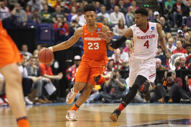 Former Syracuse G Malachi Richardson joined the Philadelphia 76ers on Wednesday as part of a deal that helps the team save $5 million. File Photo by Bill Greenblatt/UPI