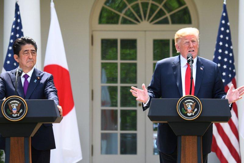 U.S. President Donald Trump has said Japan's Shinzo Abe (L) nominated him for the Nobel Peace Prize. File Photo by Pat Benic/UPI