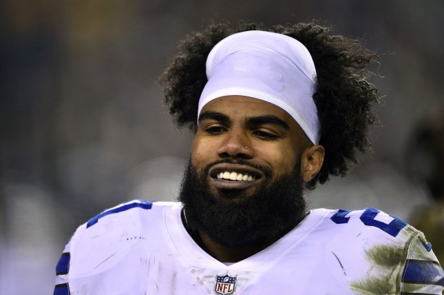 Dallas Cowboys running back Ezekiel Elliott has been training in Cabo San Lucas, Mexico, during his holdout. File Photo by Derik Hamilton/UPI