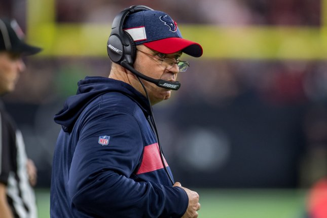 Houston Texans head coach Bill O'Brien (pictured) traded star receiver DeAndre Hopkins and a fourth-round pick to the Arizona Cardinals for running back David Johnson and two draft choices. File Photo by Trask Smith/UPI