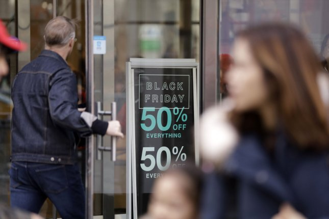 Black Friday will be the busiest shopping day of the holiday season, but it won't be as busy as last year, a new forecast shows. File Photo by John Angelillo/UPI