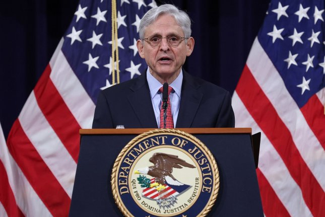 U.S. Attorney General Merrick Garland speaks during an event at the Justice Department on Tuesday. Pool Photo by Win McNamee/UPI