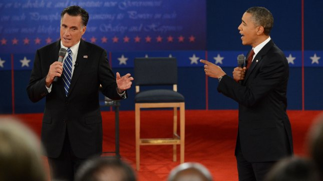 Republican nominee Mitt Romney and President Barack Obama exhange words during the second Presidential Debate, Town-Hall style, at Hofstra University on October 16, 2012 in Hempstead, New York. UPI/Pat Benic