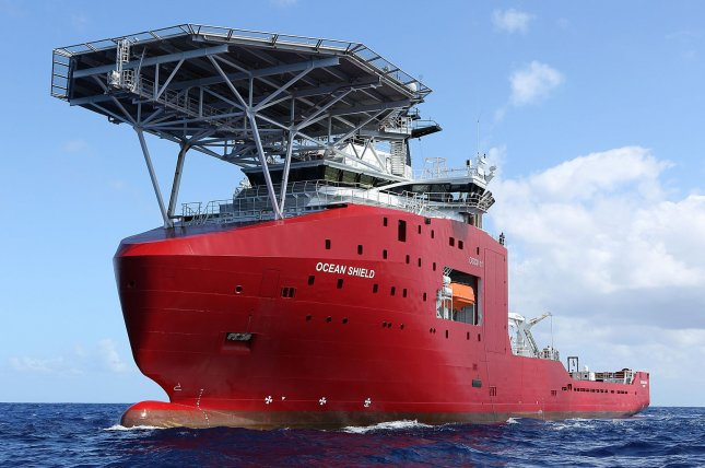 The Australian Defense Vessel Ocean Shield searches for the flight data recorder and cockpit voice recorder of a Malaysia Airlines jetliner MH370 missing in the Indian Ocean, about 1,000 miles off the coast of Perth, Australia. UPI/Bradley Darvill/Australian Defense Force