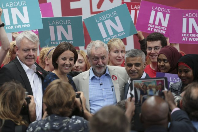 Crude oil prices rally as polling data show a slight move in favor of Britain staying in the European Union. Brent breaches the $50 mark in early Thursday trading. Pictured, L-R Vote Remain members of the Labour Party Carwyn Jones, Kezia Dugdale, Labour leader Jeremy Corbyn and new London Mayor Sadiq Khan give a final press conference before the crucial Referendum vote in King's Cross, London June 22, 2016. Photo by Hugo Philpott/UPI
