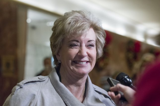 Linda McMahon, who started the WWE more than 30 years ago along with her husband, is Donald Trump's pick to lead the Small Business Administration. She previously voiced support for lower corporate taxes and fewer regulations. She spent about $6 million supporting Trump during the campaign. Pool Photo by Albin Lohr-Jones/UPI