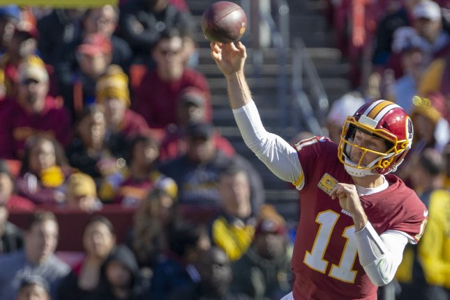 Washington Redskins quarterback Alex Smith releases a pass during a game against the Atlanta Falcons at FedEx Field in Landover, Maryland on November 4, 2018. Photo by Tasos Katopodis/UPI