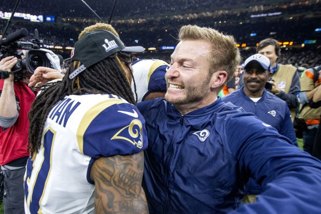 80cd76f8217 Los Angeles Rams head coach Sean McVay and defensive back Marqui Christian  (41) celebrate defeating the New Orleans Saints during the NFC Championship  game ...