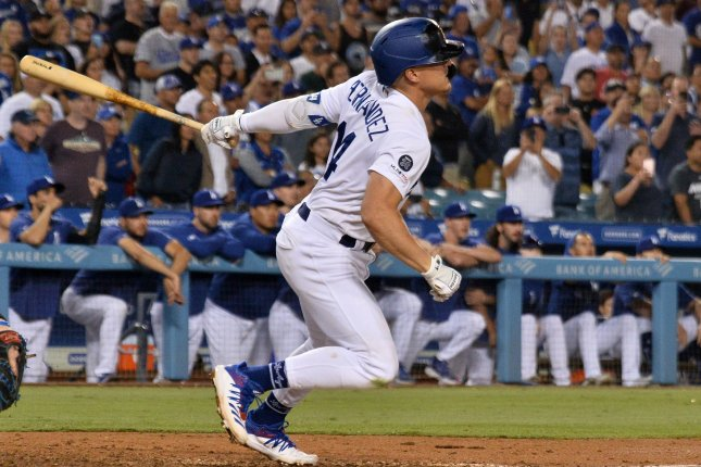 Los Angeles Dodgers second baseman Enrique Hernandez led his team to their 12th walk-off victory this season with a ninth-inning single against the Toronto Blue Jays Thursday in Los Angeles. Photo by Jim Ruymen/UPI