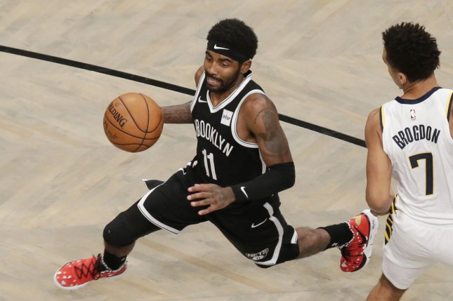 Brooklyn Nets star Kyrie Irving has yet to be ruled out for the team's rematch against the Boston Celtics Friday in Boston. Photo by John Angelillo/UPI