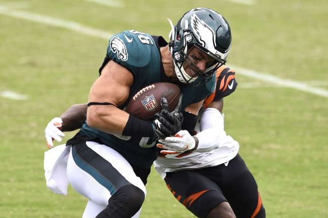 Philadelphia Eagles tight end Zach Ertz (L) is expected to miss three to four weeks after he sustained a high-ankle sprain in Week 6. File Photo by Derik Hamilton/UPI