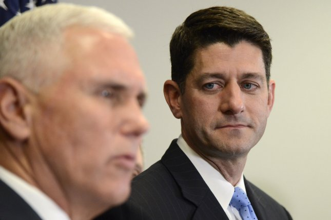 U.S. House Speaker Paul Ryan (R), seen here alongside Vice President Mike Pence, on Wednesday said the United States will fund President Donald Trump's border wall along the Mexican border prior to making Mexico pay for it -- a Trump campaign pledge. Photo by Mike Theiler/UPI