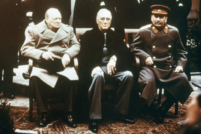 World Leaders at the Yalta Conference, 1945: Soviet leader Josef Stalin, American President Franklin Delano Roosevelt and British Prime Minister Winston Churchill seated together during the Yalta Conference, 1945. Photo taken February 9, 1945. UPI File Photo