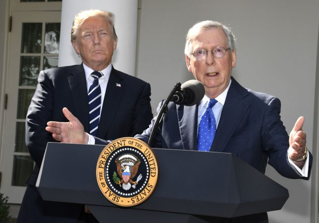 Senate Majority Leader Mitch McConnell said he trusts President Donald Trump as a negotiating partner and dismissed criticism that the senate has not properly advanced the president's legislation. Photo by Mike Theiler/UPI