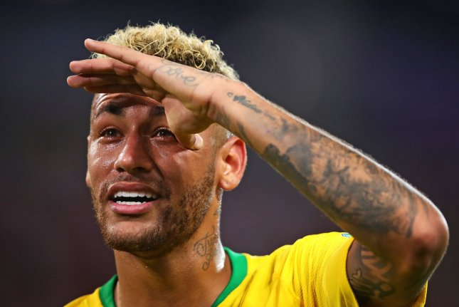 Neymar of Brazil looks on during the 2018 FIFA World Cup Group E match on Wednesday at Spartak Stadium in Moscow. Photo by Chris Brunskill/UPI