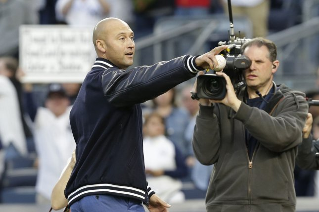 Former New York Yankees star Derek Jeter appeared on 396 of 397 ballots cast by the Baseball Writers' Association of America. File Photo by John Angelillo/UPI