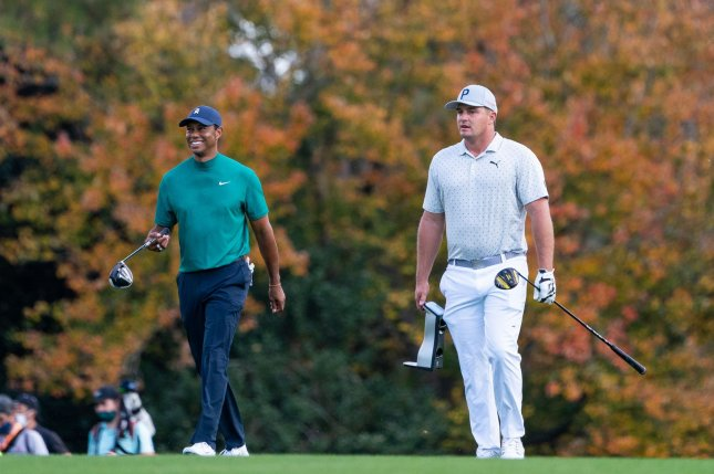 Five-time Masters champion Tiger Woods (L) practiced with 2020 tournament favorite Bryson DeChambeau (R) on Tuesday at Augusta National Golf Club in Augusta, Ga. Photo by Kevin Dietsch/UPI