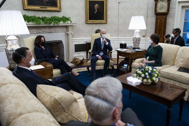 President Joe Biden and Vice President Kamala Harris met with Republican senators as they pitched a trimmed down version of Biden's COVID-19 relief plan in the Oval Office Monday. Pool Photo by Doug Mills/UPI