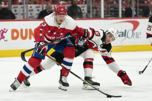 Washington Capitals forward Jakub Vrana (13), shown Jan. 11, 2020, was traded to the Detroit Red Wings as part of the blockbuster deal. File Photo by Alex Edelman/UPI