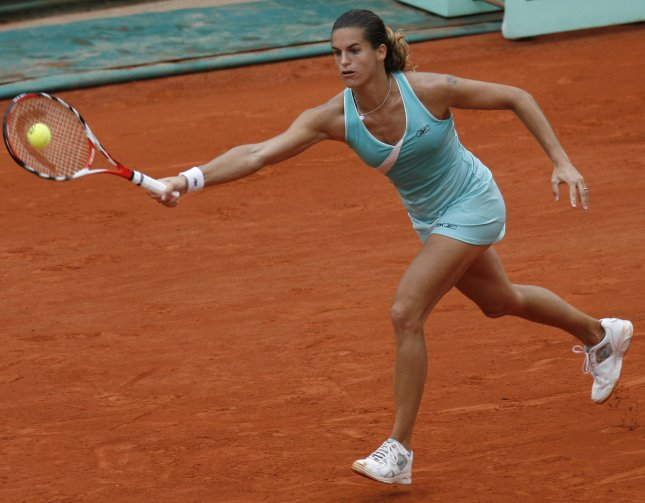 Amelie Mauresmo of France, shown at the French Open May 29, 2008. (UPI Photo/ David Silpa)