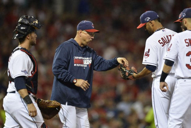 Cleveland Indians Manager Terry Francona (C). UPI/Brian Kersey