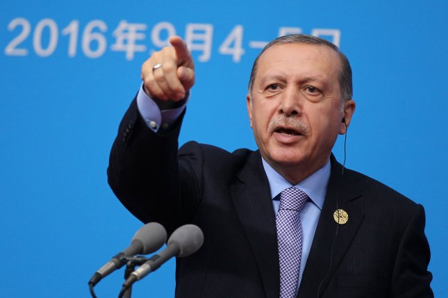 Turkish President Recap Tayyip Erdogan speaks at the G-20 summit in China in September. Erdogan and the European Union have engaged in a war of words over the fate of Turkey's accession negotiations to join the EU. File Photo by Li He/UPI