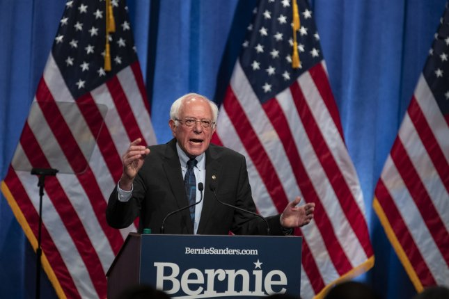 Sen. Bernie Sanders, I-Vt., delivered a speech outlining his longtime belief in democratic socialism on Wednesday. Photo by Alex Edelman/UPI