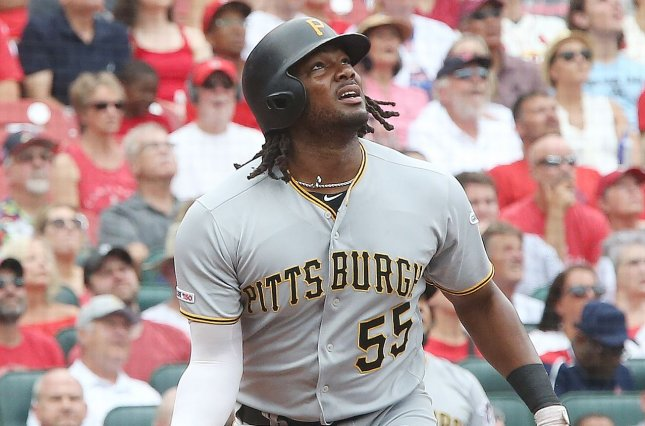 Pittsburgh Pirates star Josh Bell helped his team earn an early lead with two home runs before the St. Louis Cardinals responded with a five-run seventh inning for a comeback victory Sunday in St. Louis. Photo by Bill Greenblatt/UPI