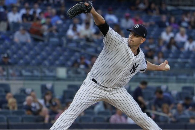 New York Yankees starting pitcher James Paxton has allowed just two hits in his last 12 innings. The Yankees have won in his last seven starts, including a win against the Texas Rangers Tuesday in New York City. Photo by Ray Stubblebine/UPI