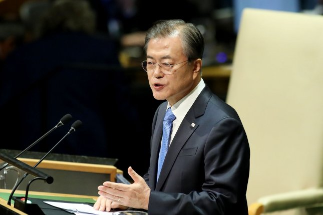 South Korea President Moon Jae-in speaks at the 74th General Debate at the United Nations General Assembly at United Nations Headquarters in New York City on Tuesday. Photo by Monika Graff/UPI