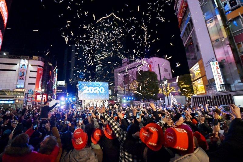 Hundreds celebrate the new year at the Shibuya district shopping street in Tokyo, Japan, on January 1. Photo by Keizo Mori/UPI