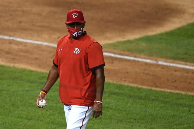 Washington Nationals manager Dave Martinez led the team to an 82-80 record in his first season before guiding the franchise to its first World Series title in 2019. File Photo by Kevin Dietsch/UPI
