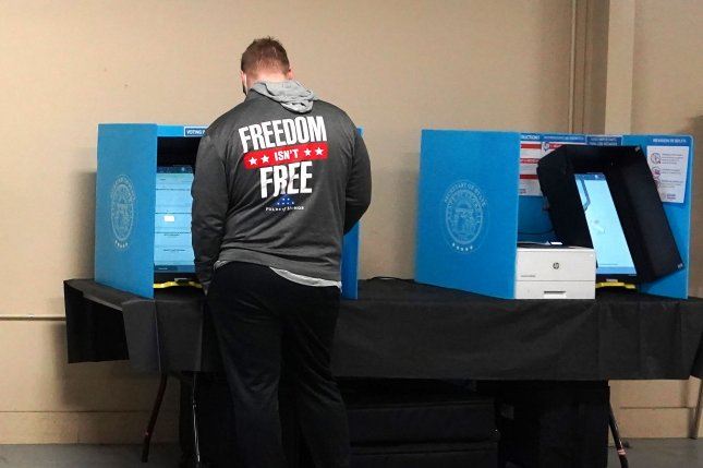 A resident votes on Election Day, November 3, at the Gwinnett County Fairgrounds in Lawrenceville, Ga. File Photo by Tami Chappell/UPI