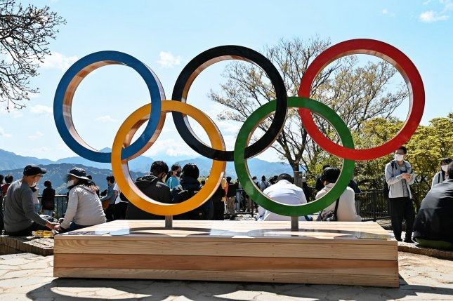 The Olympic rings are seen Sunday at the top of Mt. Takao in Tokyo. The Tokyo Olympic Games are scheduled to start July 23. Photo by Keizo Mori/UPI