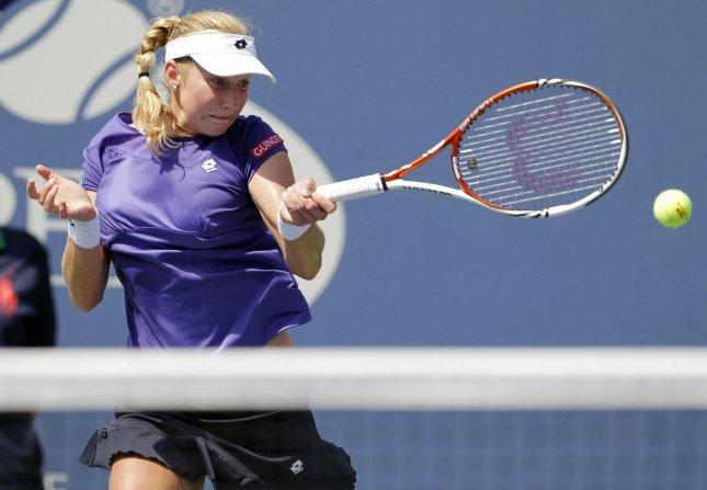 Ekaterina Makarova, shown in a 2012 match, defeated world No. 3 Victoria Azarenka in a second-round match Wednesday at the Madrid Open. UPI/John Angelillo