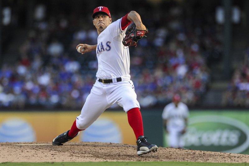 Texas Rangers pitcher Keone Kela. Photo by Michael Prengler/UPI
