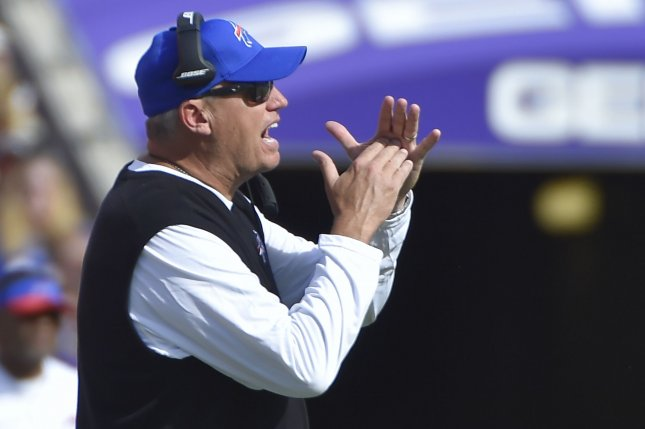Buffalo Bills head coach Rex Ryan calls a time out during the second half of an NFL football game against the Baltimore Ravens at M&T Bank Stadium in Baltimore, Maryland, September 11, 2016. Baltimore won 13-7. Photo by David Tulis/UPI