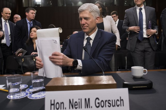 Supreme Court Justice nominee Neil Gorsuch finishes up his second round of questioning during the third day of his confirmation hearing before the Senate Judiciary Committee on Capitol Hill in Washington, D.C. on March 22. Photo by Kevin Dietsch/UPI
