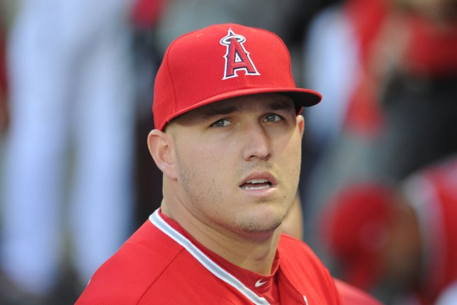 Los Angeles Angels' Mike Trout stands in the dugout before the game against the Seattle Mariners at Angel Stadium in Anaheim, California on April 7, 2017. File photo by Lori Shepler/UPI