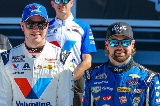 Pole winner Ricky Stenhouse Jr. (right) and Alex Bowman will start on the front row for the 2020 Daytona 500 next week at Daytona International Speedway. Photo by Mike Gentry/UPI