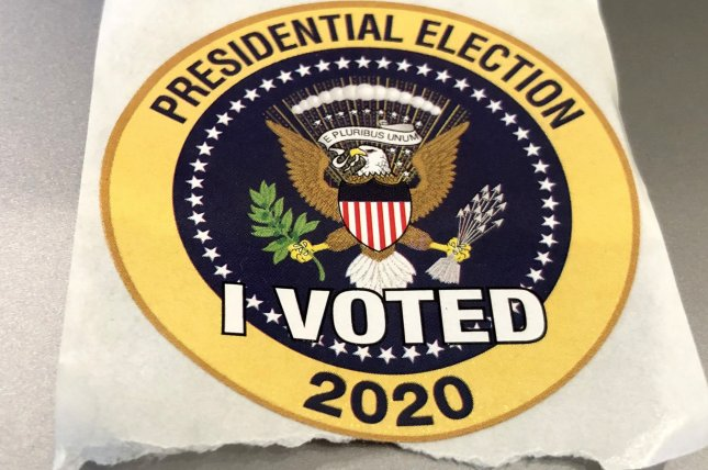 Palm Beach County residents are given this sticker after they vote in the 2020 presidential election, pictured at the West Boca Branch library in Boca Raton, Fla., on October 19. Photo by Gary I Rothstein/UPI