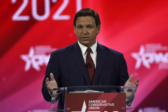 Florida Gov. Ron DeSantis withheld the pay of officials on two Florida school boards for violating his ban on mask mandates in schools. File Photo by Joe Marino/UPI