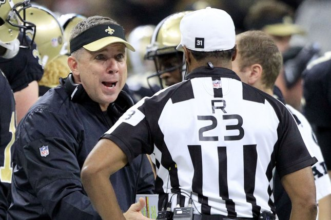 New Orleans Saints head coach Sean Payton speaks with an official during the game with the Tampa Bay Buccaneers at the Mercedes-Benz Superdome in New Orleans December 24, 2016. Photo by AJ Sisco/UPI