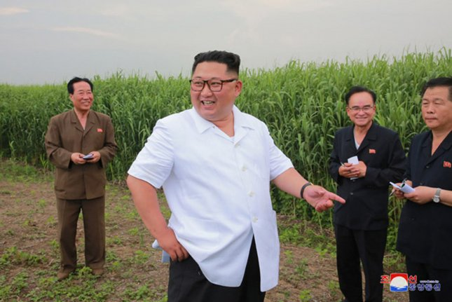 This image released on Saturday by the North Korean Official News Service (KCNA), shows North Korean leader Kim Jong Un visiting a reed branch farm in Sindo County, North Pyongan Province. Anti-U.S. rhetoric has disappeared since Kim met with President Donald Trump on June 12 in Singapore. Photo by KCNA/UPI