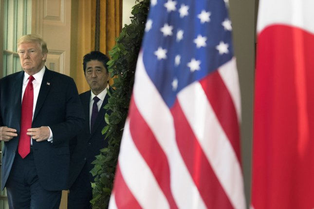 President Donald J. Trump (L) and Japanese Prime Minister Shinzo Abe have discussed Japan's weapons purchases from the United States. File Photo by Kevin Dietsch/UPI