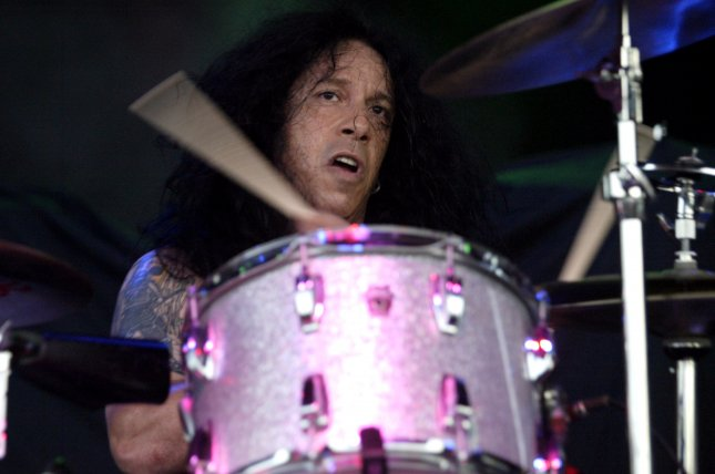 Frankie Banali of Quiet Riot performs in concert in Pompano Beach, Florida, in 2005. The drummer has announced that he has been battling pancreatic cancer. File Photo by Michael Bush/UPI
