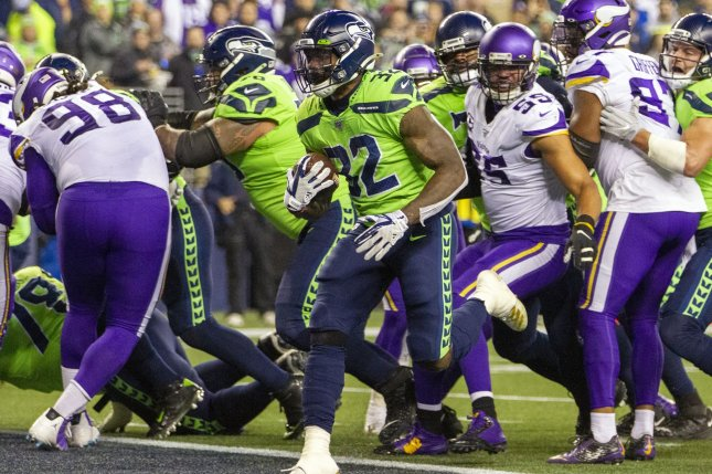 Seattle Seahawks running back Chris Carson (32) should see a larger workload in Week 15 after the team lost running back Rashaad Penny for the season due to a torn ACL. Photo by Jim Bryant/UPI